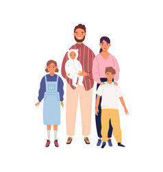 smiling big family portrait flat vector image