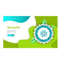 spring sale web page decorated by flower vector image