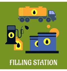 Storage transportation and filling station icons vector
