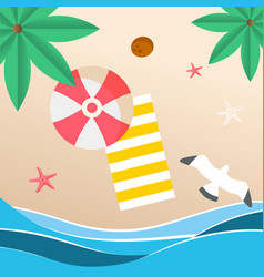 summer beach red umbrella beach mat seagull backgr vector image
