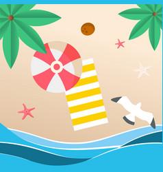 summer beach red umbrella beach mat seagull backgr vector image
