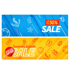 summertravel sale color banners set special offer vector image