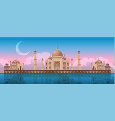 sunset at taj mahal in agra india panoramic vector image