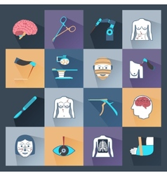 Surgery icons flat vector