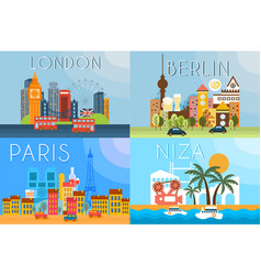 travel landmarks city architecture vector image