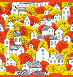 Trees and houses seamless pattern autumn red vector