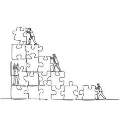 trendy business teamwork concept one single line vector image