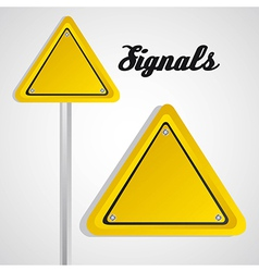 triangle yellow sign over gray background vector image