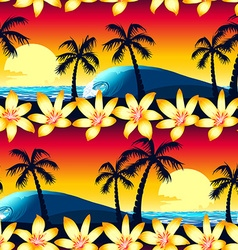 Tropical hibiscus and palm tree at sunset seamless vector image