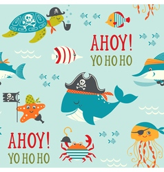 Undersea pirates pattern vector