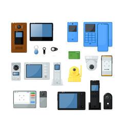 Video intercom on-door communication equipment set vector