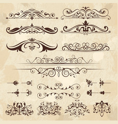 vintage frame elements calligraphy borders and vector image