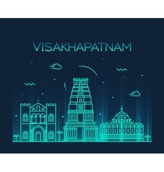 Visakhapatnam skyline linear style vector image vector image