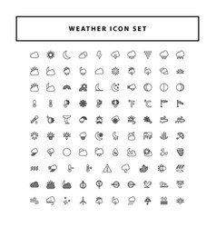 weather icon set with outline style design vector image