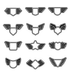 wings badges stylized geometrical army shields vector image