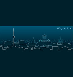 Wuhan multiple lines skyline and landmarks vector