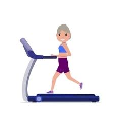 Cartoon grandmother running on treadmill vector