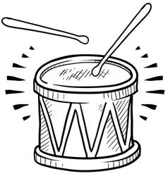 doodle drum cool vector image vector image