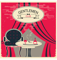 gentlemen club red room with table and vector image vector image