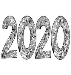 zentangle style black and white text of the vector image