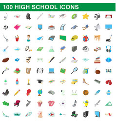 100 high school icons set cartoon style vector image vector image