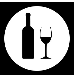 black bottle and glass of wine simple icon eps10 vector image