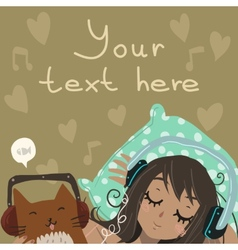 Cartoon flat Relax and Listen to the Music vector image