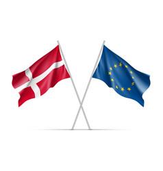 Denmark and european union waving flags vector
