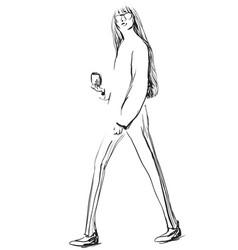 fashion sketch model vector image vector image
