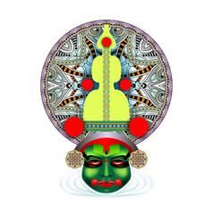 Indian kathakali dancer face vector