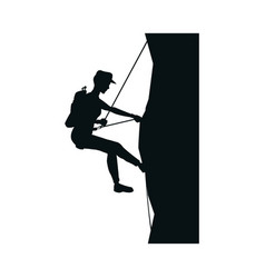 Photo of a male rock climber with climbing vector