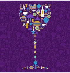 Restaurant icon set in wine glass shape vector image