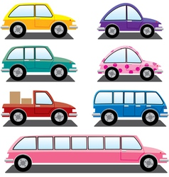 set of colorful cars vector image vector image
