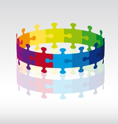 3D puzzle circle vector image vector image