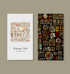 business card design ethnic handmade ornament vector image