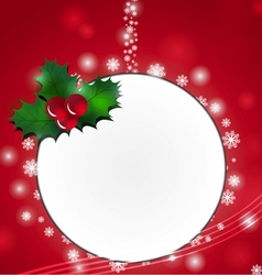 Christmas card design with holly vector image vector image