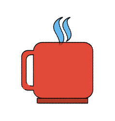 Color blurred silhouette mug of coffee with steam vector