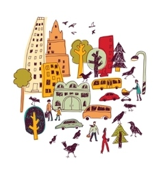 Doodles urban city life birds street isolate color vector image