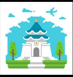flat design chiang kai shek taipei vector image vector image
