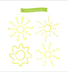 Hand drawn oil pastel sun set vector image vector image