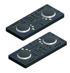 isometric black dj mixer complete with vinyl vector image