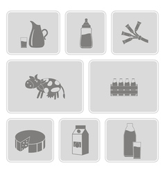 monochrome set with with milk icons vector image vector image