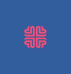 brain heart logo design education medical vector image vector image