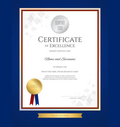 certificate of excellence template in portrait vector image vector image