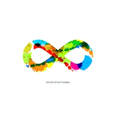 Colorful Abstract Splash infinity symbol on White vector image vector image