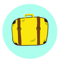 cute yellow hand drawn suitcase travel bag vector image