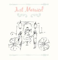 drawn bride groom carriage sketch vector image vector image