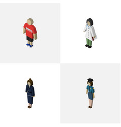 Isometric person set of guy businesswoman vector