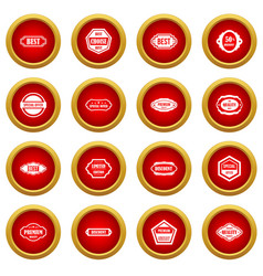 labels icon red circle set vector image