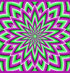 optical background purple green moving flower vector image vector image